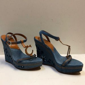 Authentic Denim Dior Embroidered Wedge